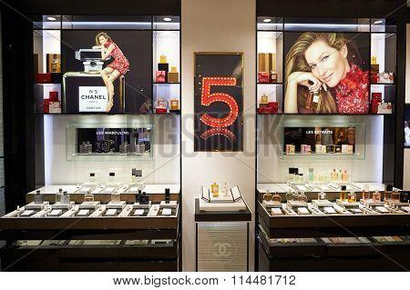 HONG KONG - DECEMBER 25, 2015: Chanel store at shopping mall in Hong Kong.