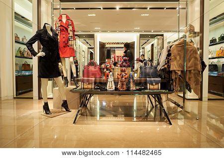 HONG KONG - DECEMBER 25, 2015: Burberry store at shopping mall in Hong Kong.