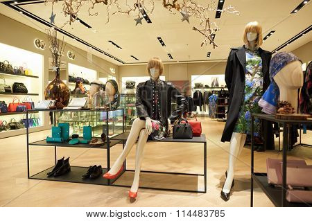 HONG KONG - DECEMBER 25, 2015: agnes b store in shopping mall in Hong Kong. Hong Kong shopping malls are some of the biggest and most impressive in the world
