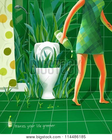 The illustration of fake advert of the cleaning fluid - a woman cleans her bathroom, and plants grow on there