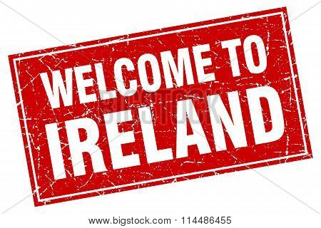 Ireland Red Square Grunge Welcome To Stamp