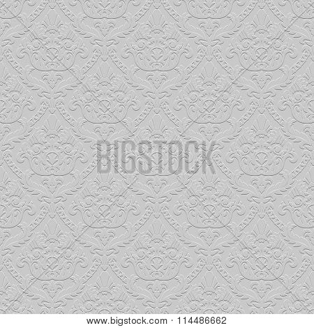 Vintage ornamental gray seamless pattern background with low relief.  Vector illustration