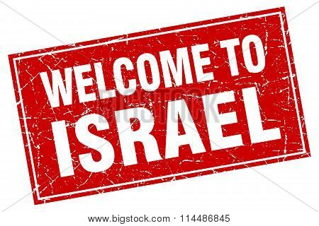 Israel Red Square Grunge Welcome To Stamp