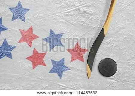 Hockey Puck, Stick And Star