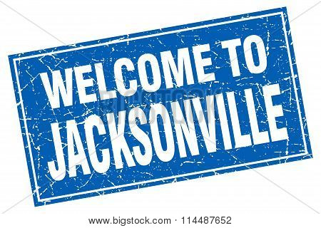 Jacksonville Blue Square Grunge Welcome To Stamp