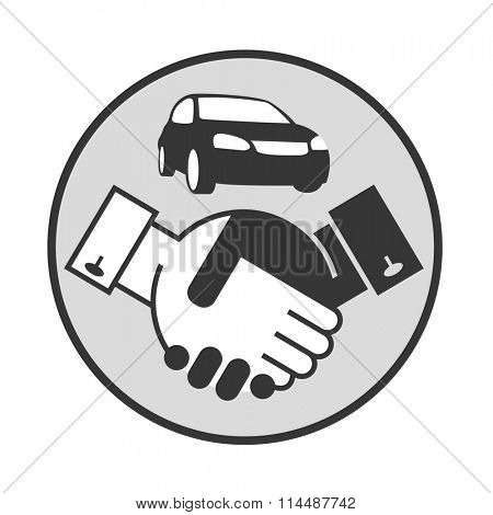 monochrome illustration of handshake and car on a stand