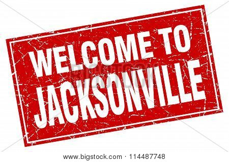 Jacksonville Red Square Grunge Welcome To Stamp