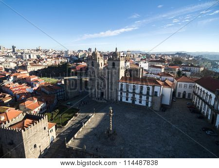 Aerial view of the Porto Cathedral or Se Catedral, Portugal