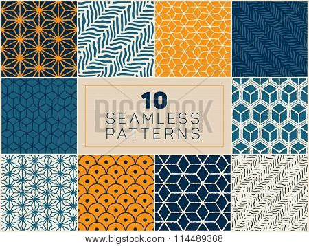 Set Of Ten Vector Seamless Hand Drawn Rough Geometric Line Patterns In Blue Navy And Yellow Colors