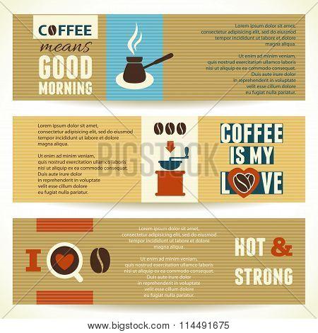 Horizontal Coffee Theme Banners. Vector Illustration.
