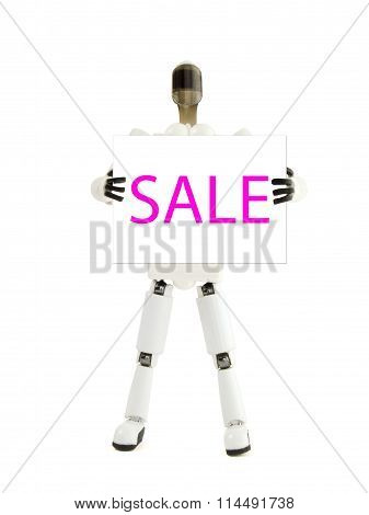 The Robot Holds The Poster With An Inscription Sale