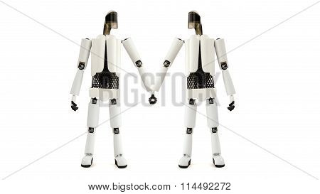 Two Robots Hold Hands