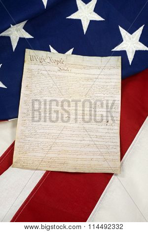 Constitution on American Flag, Vertical