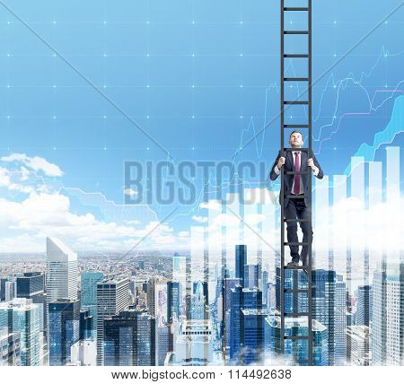 Businessman Climbing A Career Ladder