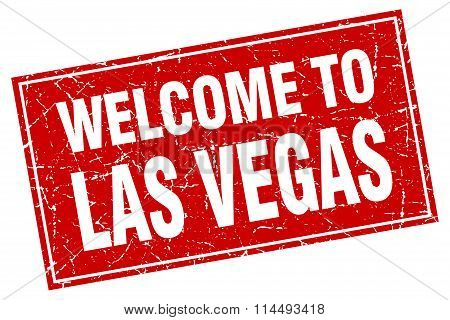 Las Vegas Red Square Grunge Welcome To Stamp