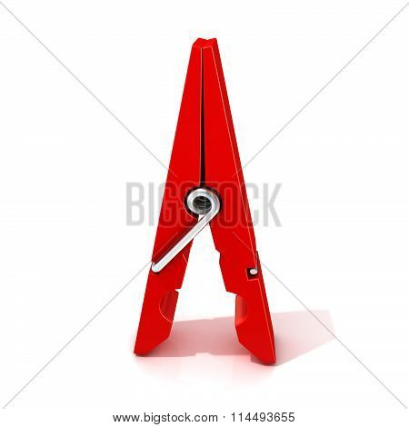 Red clothes pin. Opened standing