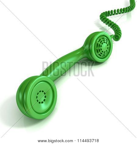 Green telephone handset retro illustration