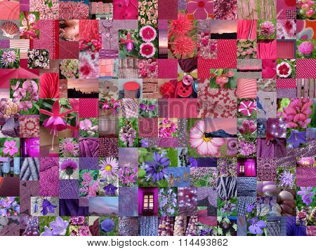 PINK PURPLE patchwork photo montage background