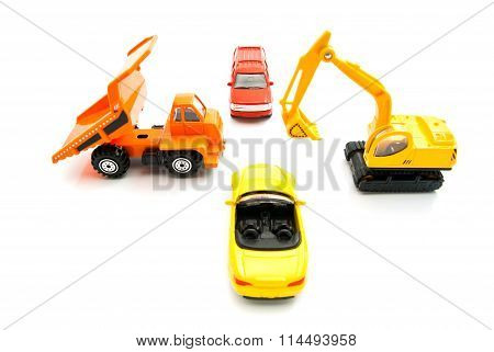 Truck, Backhoe And Other Cars