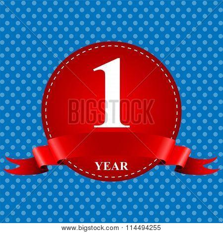Medal Ribbon Anniversary Of 1 Year