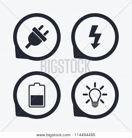 Electric plug sign. Light lamp and battery half.