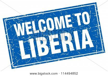 Liberia Blue Square Grunge Welcome To Stamp