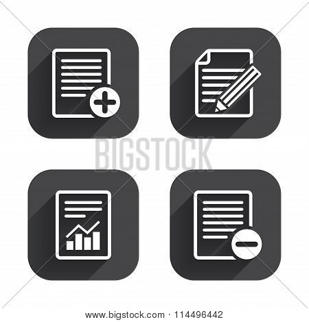 Document icons. File with chart graph.