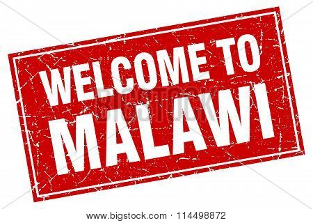 Malawi Red Square Grunge Welcome To Stamp