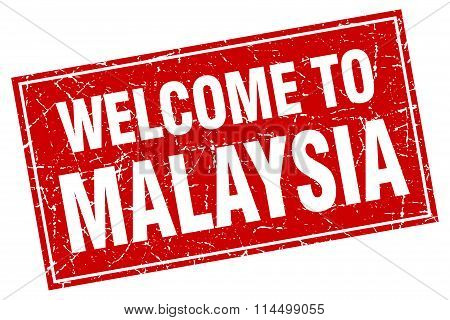 Malaysia Red Square Grunge Welcome To Stamp