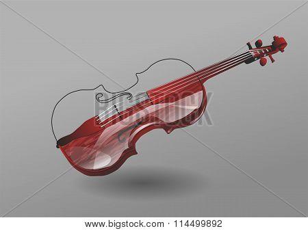 Violin On Gray Background