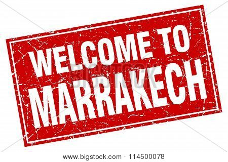Marrakech Red Square Grunge Welcome To Stamp