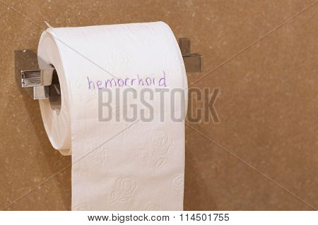 The Word Haemorrhoid Is Written On A Paper