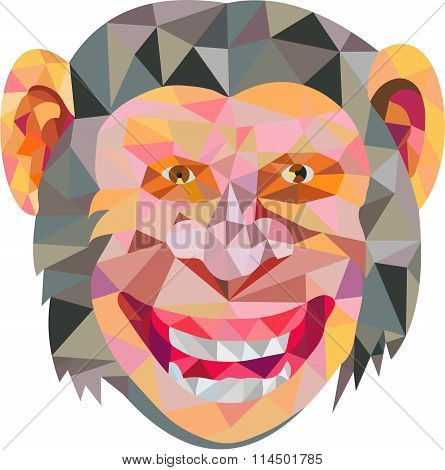 Low polygon style illustration of chimpanzee head smiling facing front set on isolated white background.