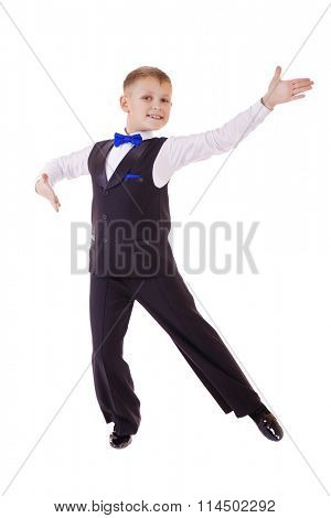 Little boy in dance costume. Isolated on white