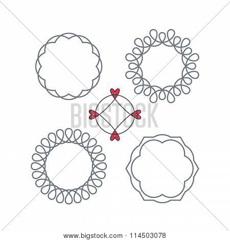 Vector Circle Decorative Frame With Swirls