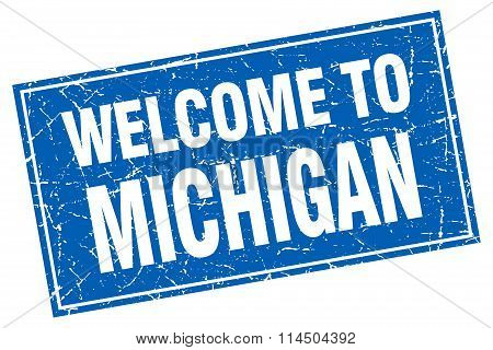 Michigan Blue Square Grunge Welcome To Stamp