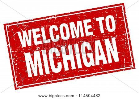 Michigan Red Square Grunge Welcome To Stamp