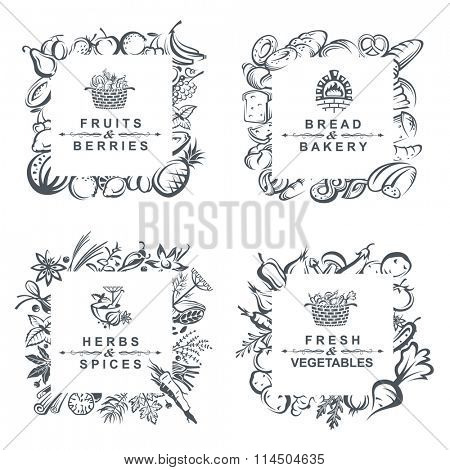 monochrome set of frames with fruits, vegetables, bakery and spices
