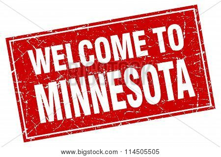 Minnesota Red Square Grunge Welcome To Stamp