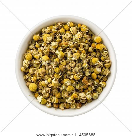 Loose Leaf Chamomile In A Ceramic Bowl