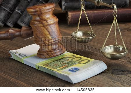 Concept For Law, Corruption, Bankruptcy, Bail, Bribe, Crime Or Fraud