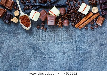 Chocolates, Coffee Beans And Spices