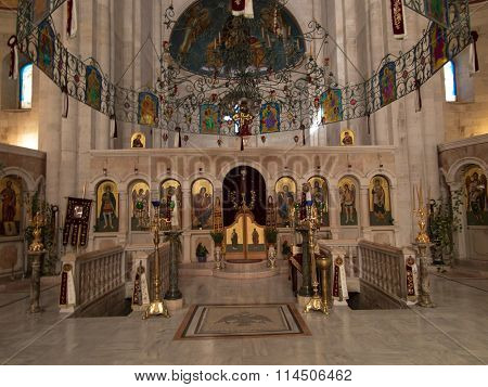 Sychar, Israel, July 11, 2015.: The Interior Of The Church In Sychar  With The Image Of Jesus With T
