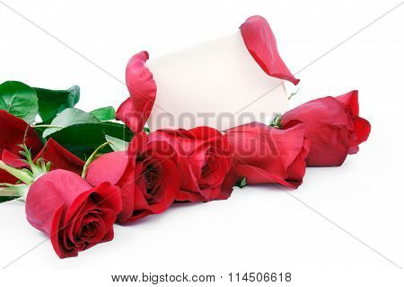 Red Roses With A Blank Gift Card