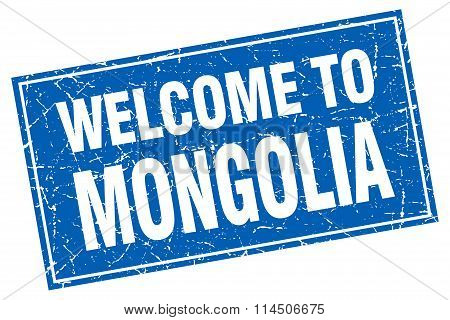 Mongolia Blue Square Grunge Welcome To Stamp
