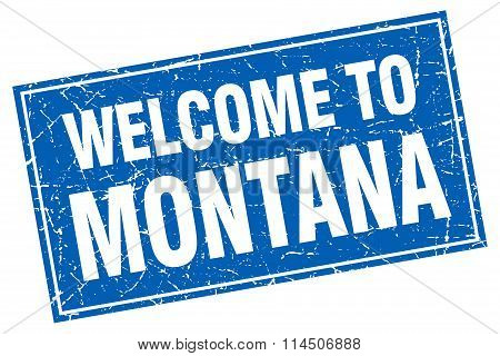 Montana Blue Square Grunge Welcome To Stamp
