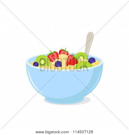 Porridge with fruits in a bowl.