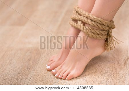 Slip legs bound with rope