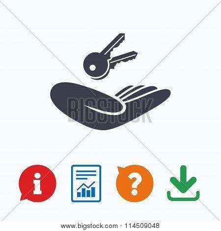 House insurance sign. Hand holds home keys
