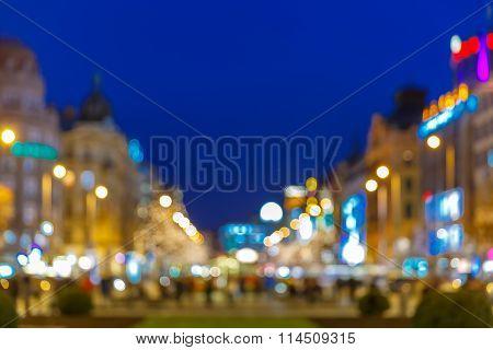 Bokeh photo of Wenceslas Square at night, Prague